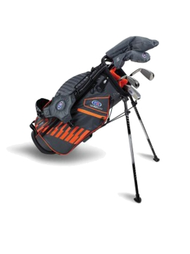 US KIDS GOLF - UL51-S 5 CLUB STAND SET, GREY/ORANGE BAG - 7 to 9 Years